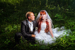 Wedding couple on grass Stock Photo