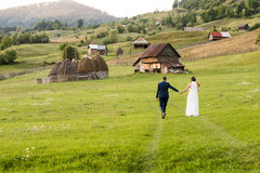 Wedding couple on a green field Stock Image