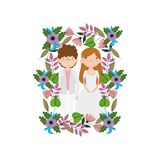 Wedding Couple, Groom And Bride Cartoon Flowers Frame Decoration Royalty Free Stock Photos
