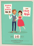 wedding couple groom and bride cartoon wedding card template Stock Photos