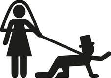 Wedding couple with groom on leash. Vector Stock Photography
