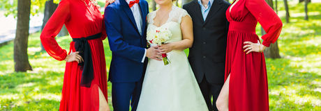Wedding couple , groomsman and  bridesmaid Royalty Free Stock Image