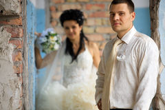 Wedding couple at grunge place Stock Image