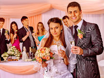Wedding couple and guests drinking champagne Royalty Free Stock Photo