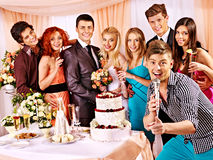 Wedding couple and guests sing song. Happy wedding couple and guests sing song royalty free stock image