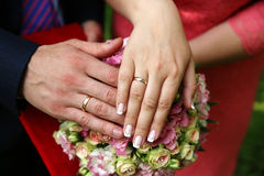 Wedding couple hands with rings. Wedding couple hands with wedding rings Stock Images