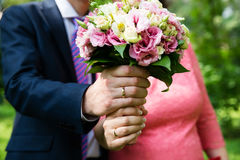 Wedding couple hands with rings. Wedding couple hands with wedding rings Royalty Free Stock Image