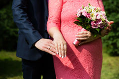 Wedding couple hands with rings. Wedding couple hands with wedding rings Royalty Free Stock Photography