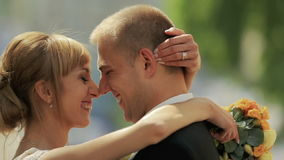 Wedding couple happily laughing close up.  stock video footage