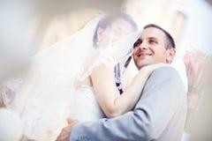 Wedding couple. Happy beautiful bride and groom Stock Photography
