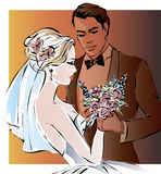 Wedding couple, happy bride and groom,. Illustration Royalty Free Stock Photography