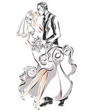 Wedding couple, happy bride and groom,. Illustration Royalty Free Stock Images