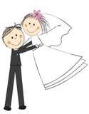 Wedding couple. Happy wedding couple on white Royalty Free Stock Images