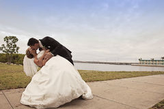 Wedding couple by harbor Stock Photos