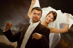 Wedding couple have fun stock photo