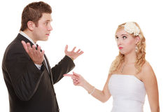 Wedding couple having argument conflict, bad relationships. Wedding couple having argument - conflict, bad relationships. Angry women fury bride and groom in royalty free stock photos