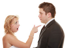 Wedding couple having argument conflict, bad relationships Royalty Free Stock Photography