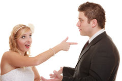 Wedding couple having argument conflict, bad relationships Stock Photography
