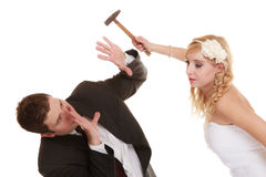 Wedding couple having argument conflict, bad relationships Royalty Free Stock Photos