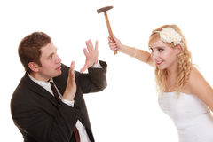 Wedding couple having argument conflict, bad relationships Stock Image