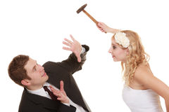 Wedding couple having argument conflict, bad relationships Royalty Free Stock Photo