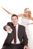 Wedding couple having argument conflict, bad relationships Royalty Free Stock Image
