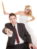 Wedding couple having argument conflict, bad relationships Stock Images