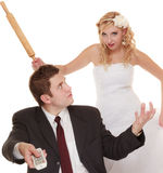Wedding couple having argument conflict, bad relationships Stock Photo