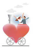 Wedding_couple_hearth. Wedding couple ridden on the heart locomotive. Vector illustration Royalty Free Stock Images