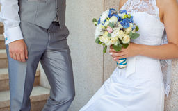 Wedding couple holding hands Stock Images