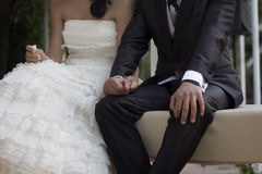Wedding couple holding hands Stock Photo