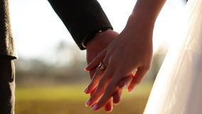 Wedding couple holding hands on sunset background. Shot in slow motion