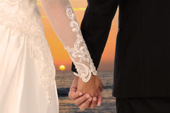 Wedding Couple Holding Hands at Sunset Royalty Free Stock Photos