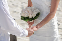 Wedding couple holding hands Royalty Free Stock Photography