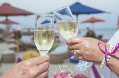 Wedding couple holding pair of champagne glasses Royalty Free Stock Photo