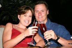 Wedding couple honeymoon cheers stock images