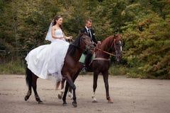 Wedding couple on horses Royalty Free Stock Photography