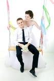 Wedding couple hugging. Stock Photo