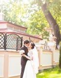 Wedding couple hugging Stock Photo