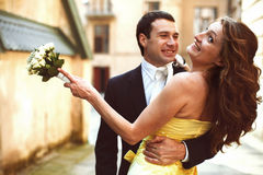 Wedding couple hugs and smiles Stock Images