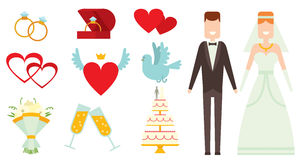Wedding couple and icons cartoon style vector Stock Photography