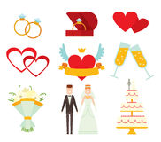 Wedding couple and icons cartoon style vector Royalty Free Stock Photography