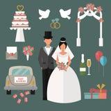 Wedding couple and icons cartoon style vector Stock Photos
