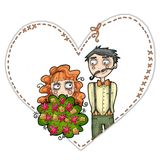 Wedding couple illustration. Illustration of wedding couple. Heart framed. White background Royalty Free Stock Images