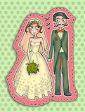 Wedding couple illustration. Illustration of a wedding couple holding hands with dotted background Royalty Free Stock Photography