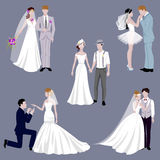 Wedding couple indoors is hugging each other vector. Beautiful model girl in white dress. Man in suit. Beauty bride with groom. Female and male. Woman with Stock Photos