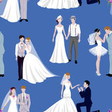 Wedding couple indoors is hugging each other vector seamless pattern. Beautiful model girl in white dress. Man in suit. Beauty bride with groom. Female and Stock Images