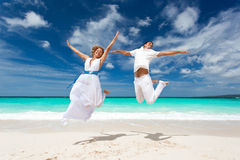 Wedding couple jumping on the beach Stock Image
