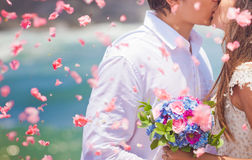 Wedding couple just married. With bridal bouquet Royalty Free Stock Image