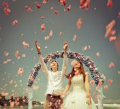 Wedding couple just married Stock Photography